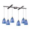 Arco Baleno 6 Light Pendant In Satin Nickel And Sapphire Glass