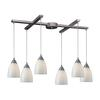 Arco Baleno 6 Light Pendant In Satin Nickel And White Swirl Glass