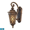 ELK lighting Burlington Junction 1 Light Outdoor LED Sconce In Hazlenut Bronze And  Amber Scavo Glass
