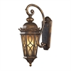 ELK lighting Burlington Junction 2 Light Outdoor Wall Sconce In Hazlenut Bronze And  Amber Scavo Glass