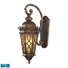 ELK lighting Burlington Junction 2 Light Outdoor LED Wall Sconce In Hazlenut Bronze And  Amber Scavo Glass