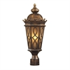ELK lighting Burlington Junction 2 Light Outdoor Post Light In Hazlenut Bronze And  Amber Scavo Glass