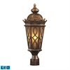 ELK lighting Burlington Junction 2 Light Outdoor LED Post Light In Hazlenut Bronze And  Amber Scavo Glass