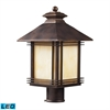 ELK lighting Blackwell 1 Light Outdoor LED Post Lamp In Hazelnut Bronze