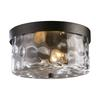 ELK lighting Grand Aisle 2 Light Outdoor Flushmount In Weathered Charcoal