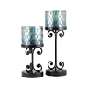 Ambia Set of 2 Pillar Holders, Rustic,Aqua Shimmer Mosaic