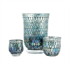 Ambia Set of 3 Table Lighting, Aqua Shimmer Mosaic