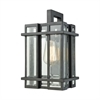 Glass Tower 1 Light Outdoor Wall Sconce In Matte Black With Clear Glass