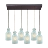 Weatherly 6 Light Rectangle Pendant In Oil Rubbed Bronze With Chalky Seafoam Glass
