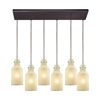 Weatherly 6 Light Rectangle Pendant In Oil Rubbed Bronze With Chalky Beige Glass