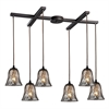 ELK lighting Darien 6 Light Pendant In Oiled Bronze And Mercury Glass