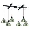 Danica 6 Light Pendant In Oiled Bronze And Mercury Glass