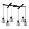 ELK lighting Danica 6 Light Pendant In Oil Rubbed Bronze And Mercury Glass