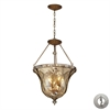 Cheltham 4 Light Pendant In Mocha And Champagne Plated Glass - Includes Recessed Lighting Kit