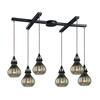 Danica 6 Light Pendant In Oil Rubbed Bronze And Mercury Glass