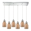 Danica 6 Light Pendant In Polished Chrome And Cream Champagne Glass