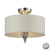 ELK lighting Martique 3 Light Semi Flush in Chrome And Silver Leaf - Includes Recessed Lighting Kit