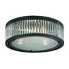 Linden Manor 3 Light Flushmount In Crystal And Oil Rubbed Bronze