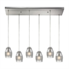 ELK lighting Carved Glass 6 Light Pendant In Brushed Nickel