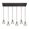 ELK lighting Carved Glass 6 Light Pendant In Oil Rubbed Bronze