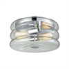 Ronis 2 Light Flush In Polished Chrome With Clear Wavy Glass