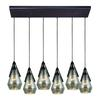 ELK lighting Duncan 6 Light Pendant In Oil Rubbed Bronze And Antique Mercury Glass
