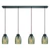Muncie 4 Light Linear Pan Pendant In Oil Rubbed Bronze With Champagne Plated Spun Glass