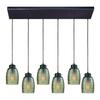 Muncie 6 Light Rectangle Pendant In Oil Rubbed Bronze With Champagne Plated Spun Glass