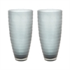 Lazy Susan Smoke Matte Cut Vases - Set Of 2