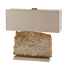 Slate Slab Table Lamp in Gold With Natural Linen Shade