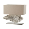 Wide Leaf Table Lamp in Nickel With Natural Linen Shade