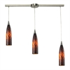 ELK lighting Lungo 3 Light Pendant In Satin Nickel And Espresso Glass