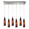 ELK lighting Lungo 6 Light Pendant In Satin Nickel And Espresso Glass
