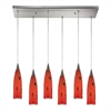 ELK lighting Lungo 6 Light Pendant In Satin Nickel And Fire Red Glass