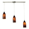 ELK lighting Verona 3 Light Pendant In Satin Nickel And Espresso Glass