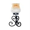 Pomeroy Brandy Pillar Holder - Small, Black,Champagne Crackle