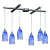 ELK lighting Verona 6 Light Pendant In Satin Nickel And Starburst Blue Glass