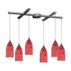 Verona 6 Light Pendant In Satin Nickel And Fire Red Glass