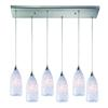 ELK lighting Verona 6 Light Pendant In Satin Nickel And Snow White Glass