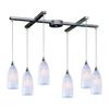 Verona 6 Light Pendant In Satin Nickel And Snow White Glass