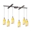 ELK lighting Verona 6 Light Pendant In Satin Nickel And Yellow Blaze Glass