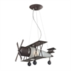 ELK lighting Novelty 1 Light Bi Plane Pendant In Walnut And Satin Glass
