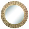 Oversized Round Wood Mirror