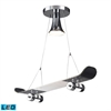 ELK lighting Novelty 1 Light LED Skateboard Pendant In Chrome