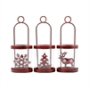 Heartland Set of 3 Mini Lanterns, Antique Red,Clear