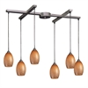 ELK lighting Mulinello 6 Light Pendant In Satin Nickel And Cocoa Glass