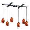 ELK lighting Mulinello 6 Light Pendant In Satin Nickel And Multicolor Glass