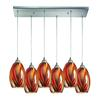 Mulinello 6 Light Pendant In Satin Nickel And Multicolor Glass