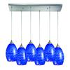 ELK lighting Mulinello 6 Light Pendant In Satin Nickel And Sapphire Glass