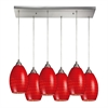 Mulinello 6 Light Pendant In Satin Nickel And Scarlet Red Glass
